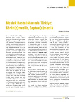 Meslek Hastalıklarında Türkiye: Görün(e)mezlik, Saptan(a)mazlık
