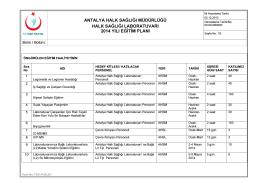 2014 Yılı Eğitim Planı - Antalya Halk Sağlığı Müdürlüğü
