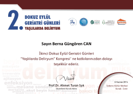 Sayın Berna Güngören CAN - the Web Page of Berna Gungoren Can