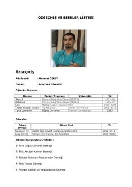 Arş. Gör. Dr. Mahmut ÖZBEY - Tıp Fakültesi