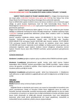 harput tekstil sanayi ve ticaret anonim şirketi 13.06.2014 günü saat