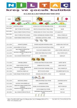 03.11.2014–28.11.2014 tarihleri arası yemek listesi