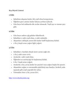 Kış diyet listesi