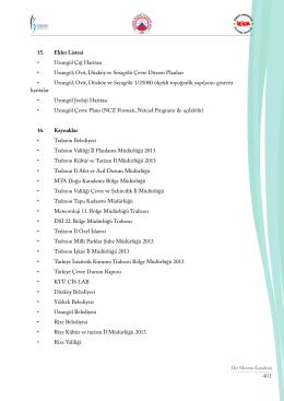 15. Ekler Listesi • Uzungöl Çığ Haritası • Uzungöl, Ovit, Düzköy ve