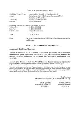 Kar Dağıtım Önerisi 08.03.2014
