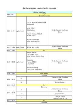 üretim ekonomisi kongresi geçici programı