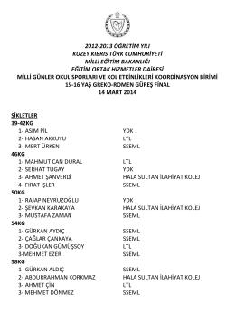 15-16 Yaş Grekoromen Güreş - Eğitim Ortak Hizmetler Dairesi