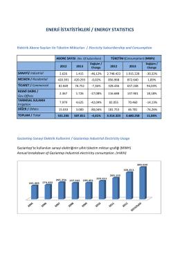 Enerji İstatistikleri - Gaziantep Sanayi Odası