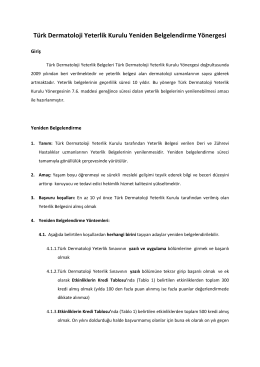 TDD Yeterlik Kurulu Yeniden Belgelendirme Yönergesi