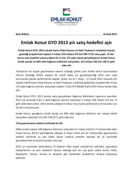 Emlak Konut GYO 2013 yılı satış hedefini aştı