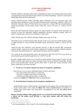 kayıt dışı istihdamın maliyeti - Türk-İş