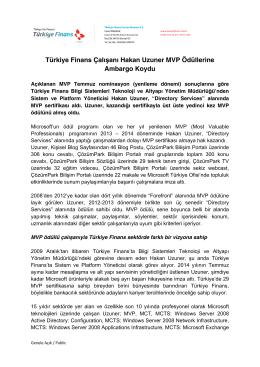 Türkiye Finans Çalışanı Hakan Uzuner MVP Ödüllerine Ambargo