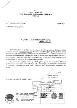 HATAY VALİLİĞİ - reyhanlı ilçe millî eğitim müdürlüğü