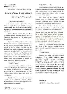 İLİ: AKSARAY TARİH: 31.10.2014 Muhterem Müslümanlar