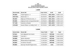 1.sınıf 2.sınıf - DEÜ Bilgisayar Bilimleri Bölümü
