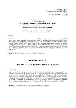 Test Pistleri Tasarımı Sınıflandırması ve Bakımı