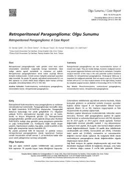 Retroperitoneal Paraganglioma: Olgu Sunumu
