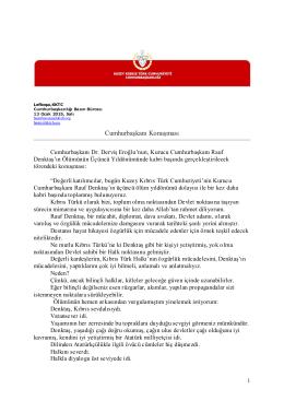 Cumhurbaşkanı Konuşması - KKTC Cumhurbaşkanlığı