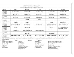 akev koleji anadolu lisesi 2013-2014 2.dönem 1.ortak sınav haftası