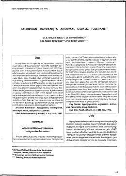 saldırgan davranışta anormal glukoz toleransı