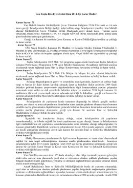 Van-Tuşba Belediye Meclisi Ekim 2014 Ayı Karar Özetleri Kararı