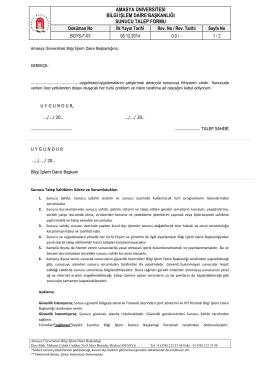 amasya üniversitesi bilgi işlem daire başkanlığı sunucu talep formu