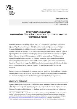 Türkiye PISA 2012 Analizi: Matematikte Öğrenci Motivasyonu