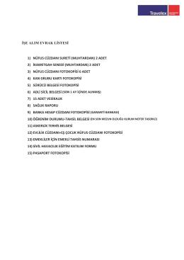 İse alim evrak listesi