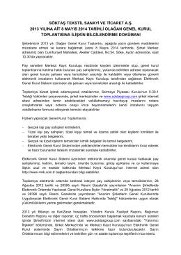 2013 yılı Olağan Genel Kurul Bilgilendirme Dokümanı