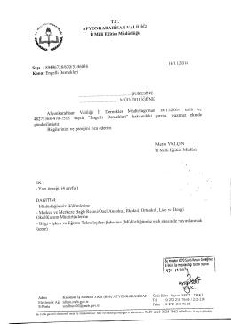 Müdürlüğümüzün konu ile ilgili 14/11/2014 tarih ve 5346036 sayılı