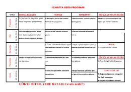 12. Hafta Çalışma Programı