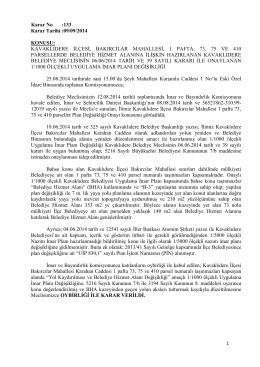 Karar No :133 Karar Tarihi :09/09/2014 KONUSU: KAVAKLIDERE
