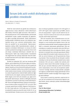 Serum ürik asiti erektil disfonksiyon riskini predikte