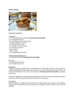 Ekmek Pudingi Malzemeler (6 kişilik) Puding için: 3 yemek kaşığı