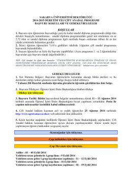 2014-2015 öğretim yılı sakarya üniversitesi çap başvuru duyurusu