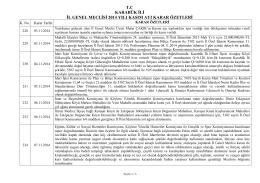 2014 yılı kasım ayı il genel meclisi karar özetleri