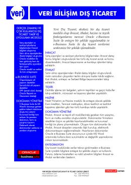 Veri E-Business Suite Dış Ticaret Tanıtım Broşürü