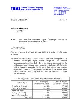 Genel Mektup 706 - 2014 Yılı İçin Belirlenen Asgari