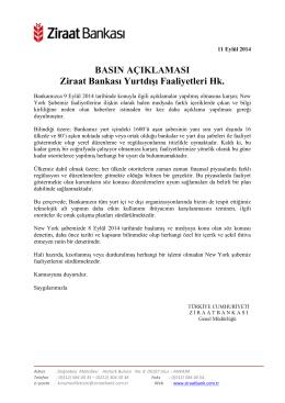 BASIN AÇIKLAMASI Ziraat Bankası Yurtdışı Faaliyetleri Hk.