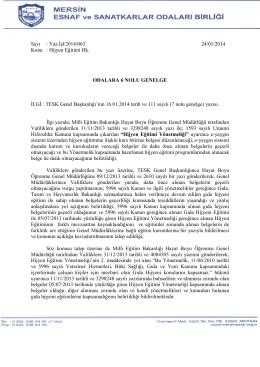 Sayı : Yaz.İşl/2014/063 24/01/2014 Konu : Hijyen Eğitimi Hk