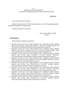 09-26 02 2014 gündem - İktisadi ve İdari Bilimler Fakültesi