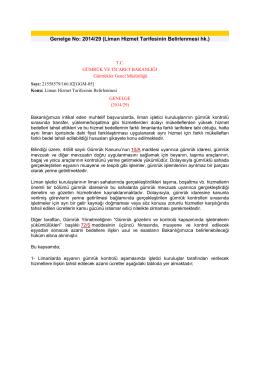 Genelge No: 2014/29 (Liman Hizmet Tarifesinin Belirlenmesi hk.)