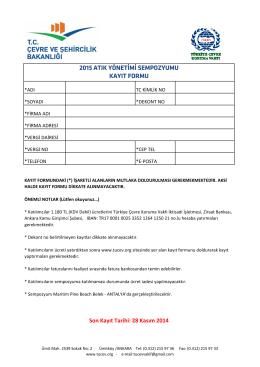 2015 atık yönetimi sempozyumu kayıt formu