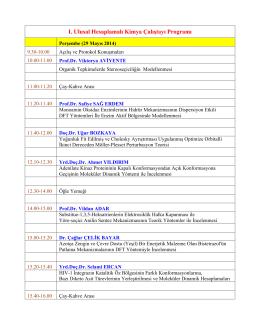 I. Ulusal Hesaplamalı Kimya Çalıştayı Programı