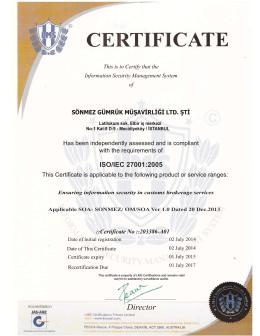 ISO/IEC 27001:2005 - sönmez gümrük müşavirliği ltd. şti