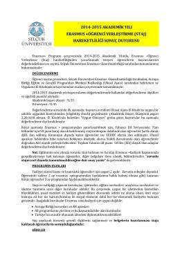 2014-2015 akademik yılı erasmus +öğrenci yerleştirme (staj)