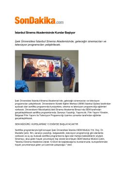 İstanbul Sinema Akademisinde Kurslar Başlıyor