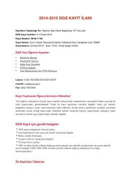 2014-2015 DGS Kayıt İlanı - İzmir Yüksek Teknoloji Enstitüsü