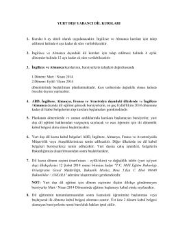 Yurt Dışı Yabancı Dil Kursları