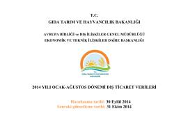 dış ticaret 2014 ocak-ağustos - TC Gıda Tarım ve Hayvancılık